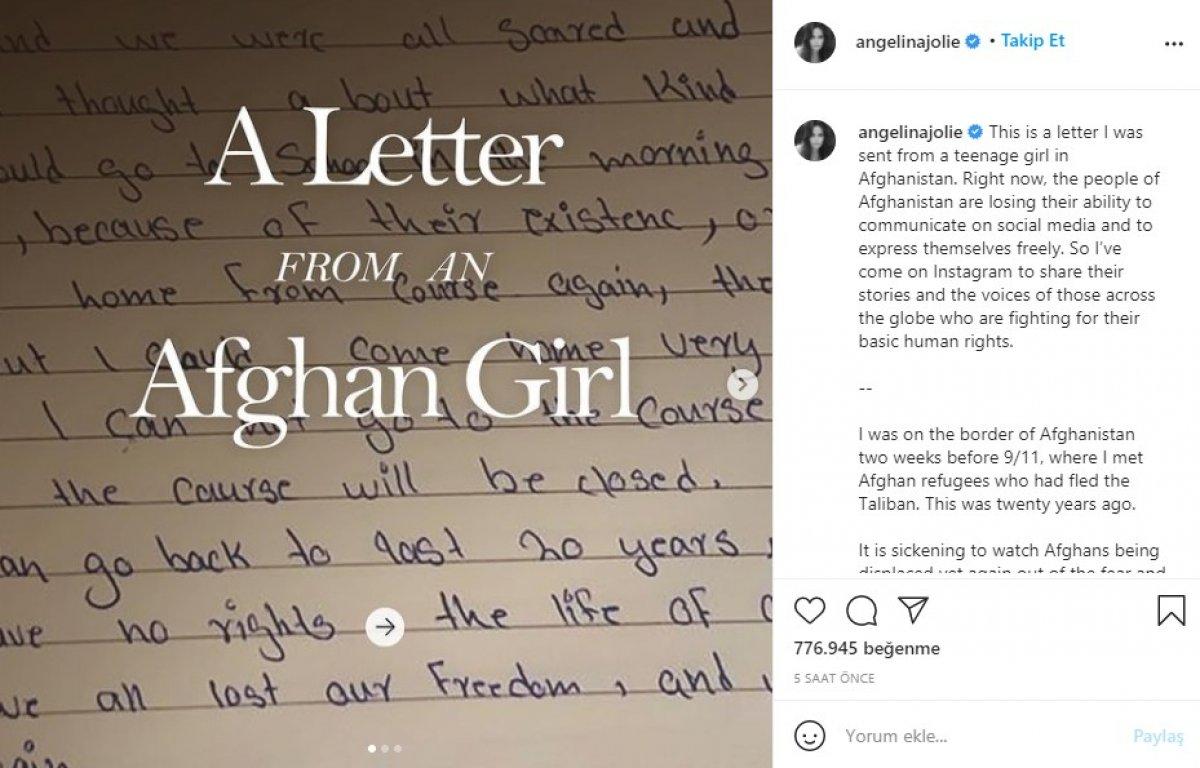 Angelina Jolie, Afganistan için Instagram hesabı açtı #1