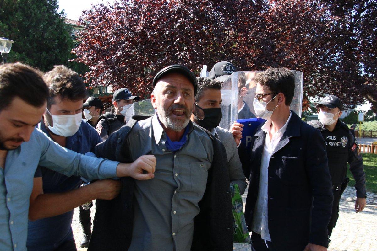 Ankara da aşı karşıtlarının mitinginde arbede çıktı #3