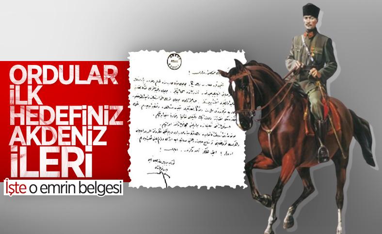 Atatürk'ün 30 Ağustos Zaferi sonrası verdiği emrin belgesi