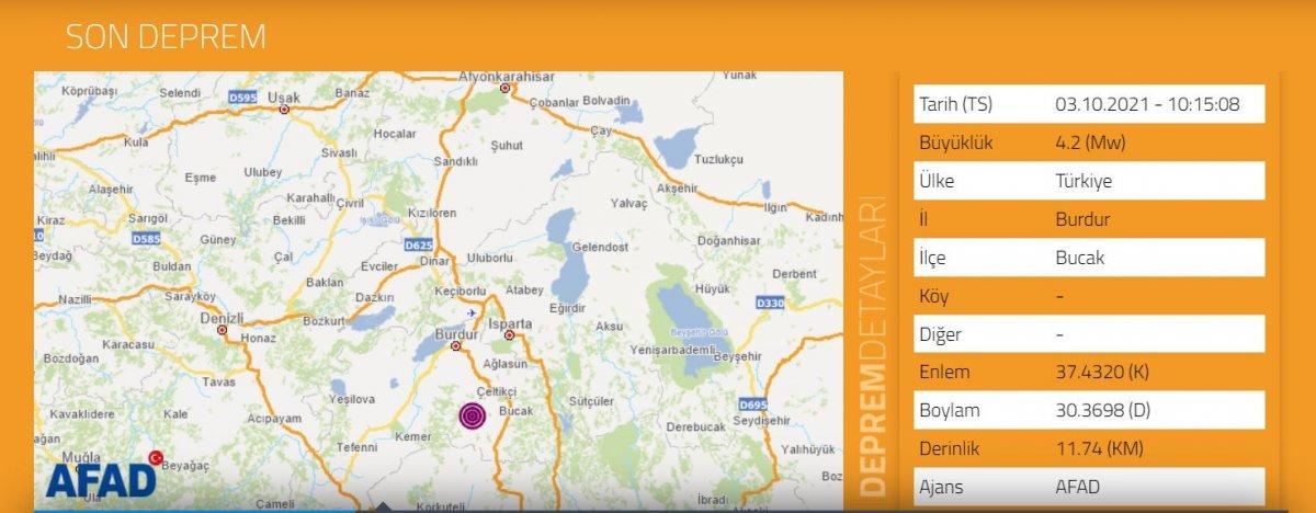 Burdur da 4.2 büyüklüğünde deprem oldu #1