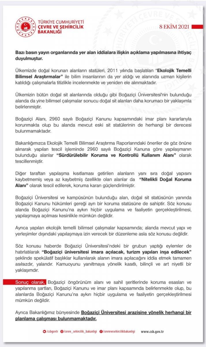 Çevre Bakanlığı, Boğaziçi imara açılacak iddialarını yalanladı #1