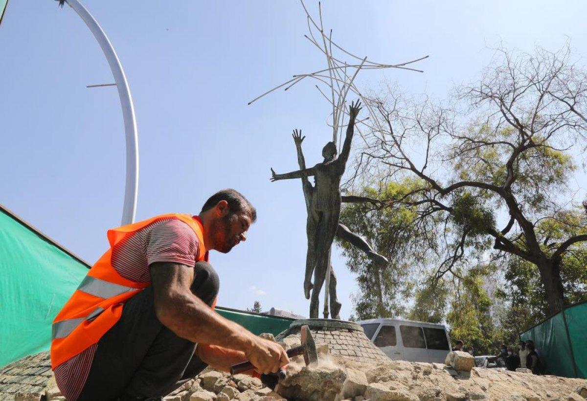 CHP, Çankaya da eskiyen heykeli bakıma aldı #3