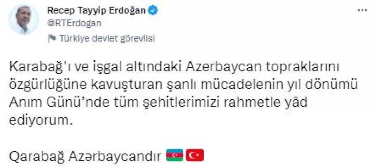 Cumhurbaşkanı Erdoğan, Karabağ zaferine ilişkin paylaşım yaptı #2