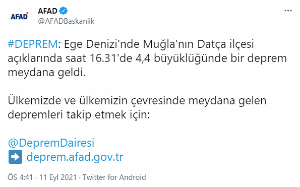 Datça açıklarında 4.4 büyüklüğünde deprem meydana geldi #1