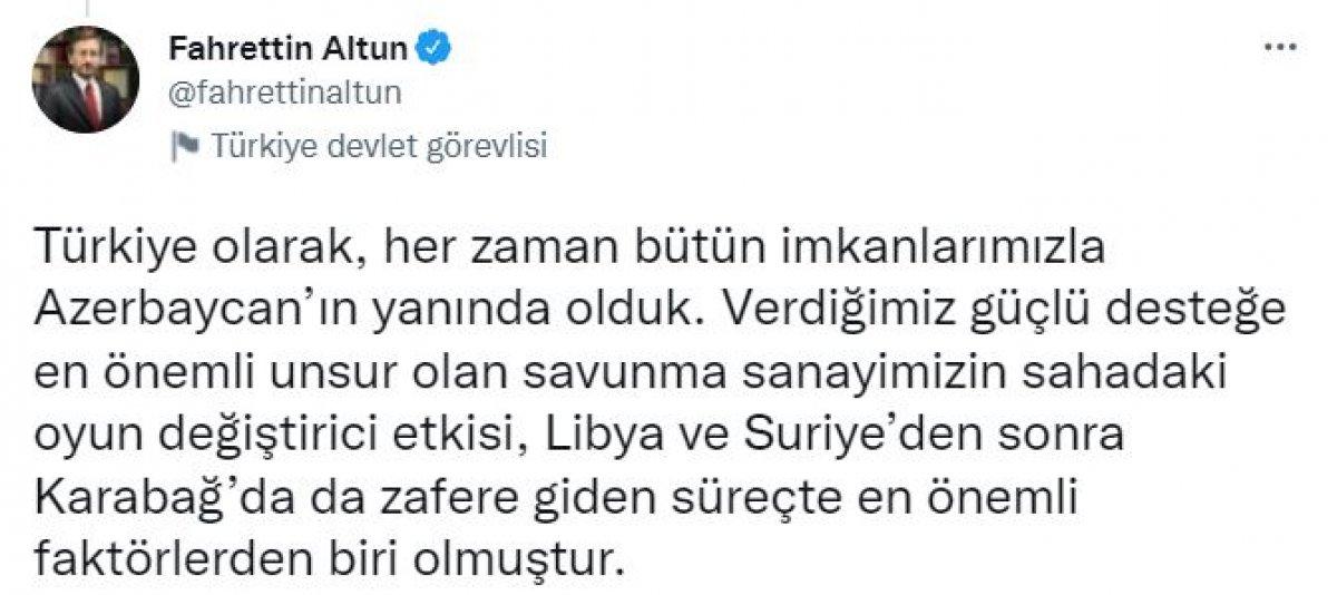 Fahrettin Altun'dan 2. Karabağ Savaşı paylaşımı #4