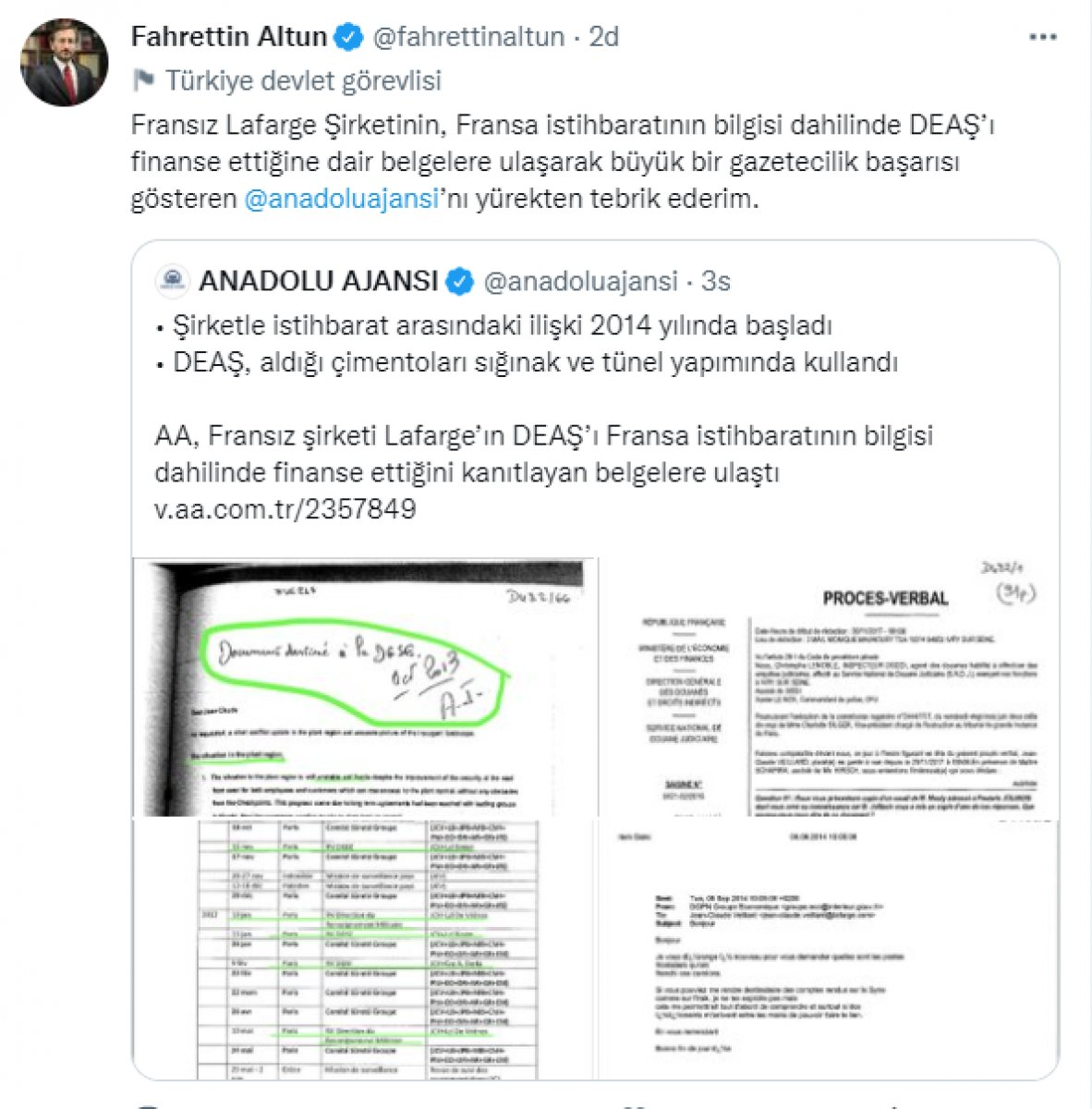 Fahrettin Altun dan Anadolu Ajansı na tebrik #1