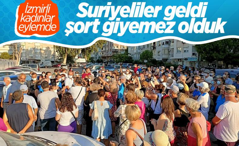 İzmir'de mültecilere karşı olan kadınlardan eylem