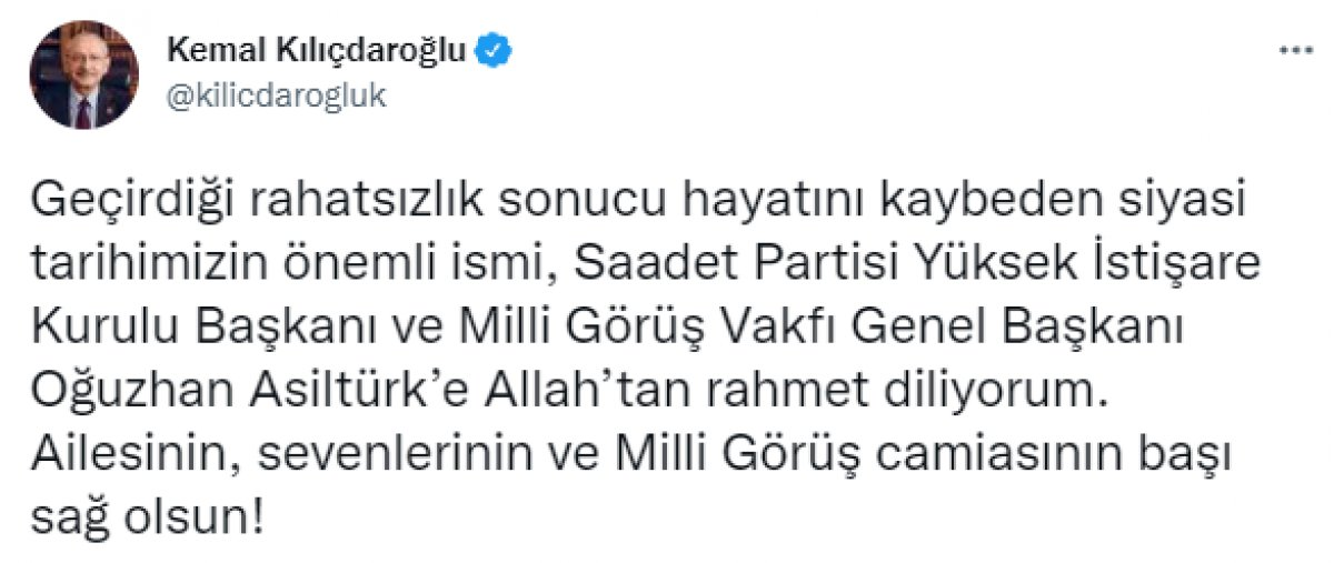 Kılıçdaroğlu, Oğuzhan Asiltürk için Karamollaoğlu'na başsağlığı diledi #1