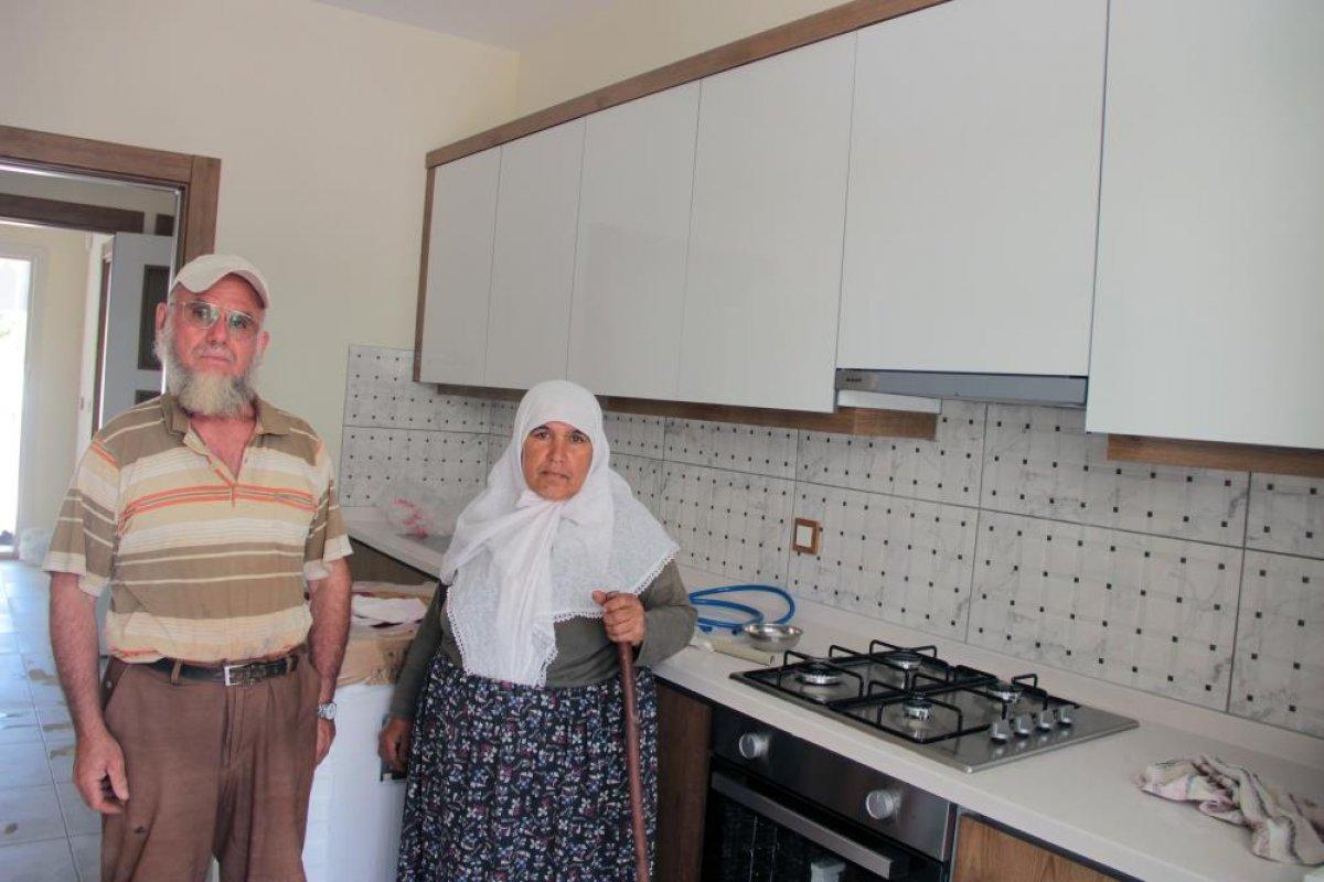 Muğla daki yangında evleri yanan çiftin yeni evleri tamamlandı #2