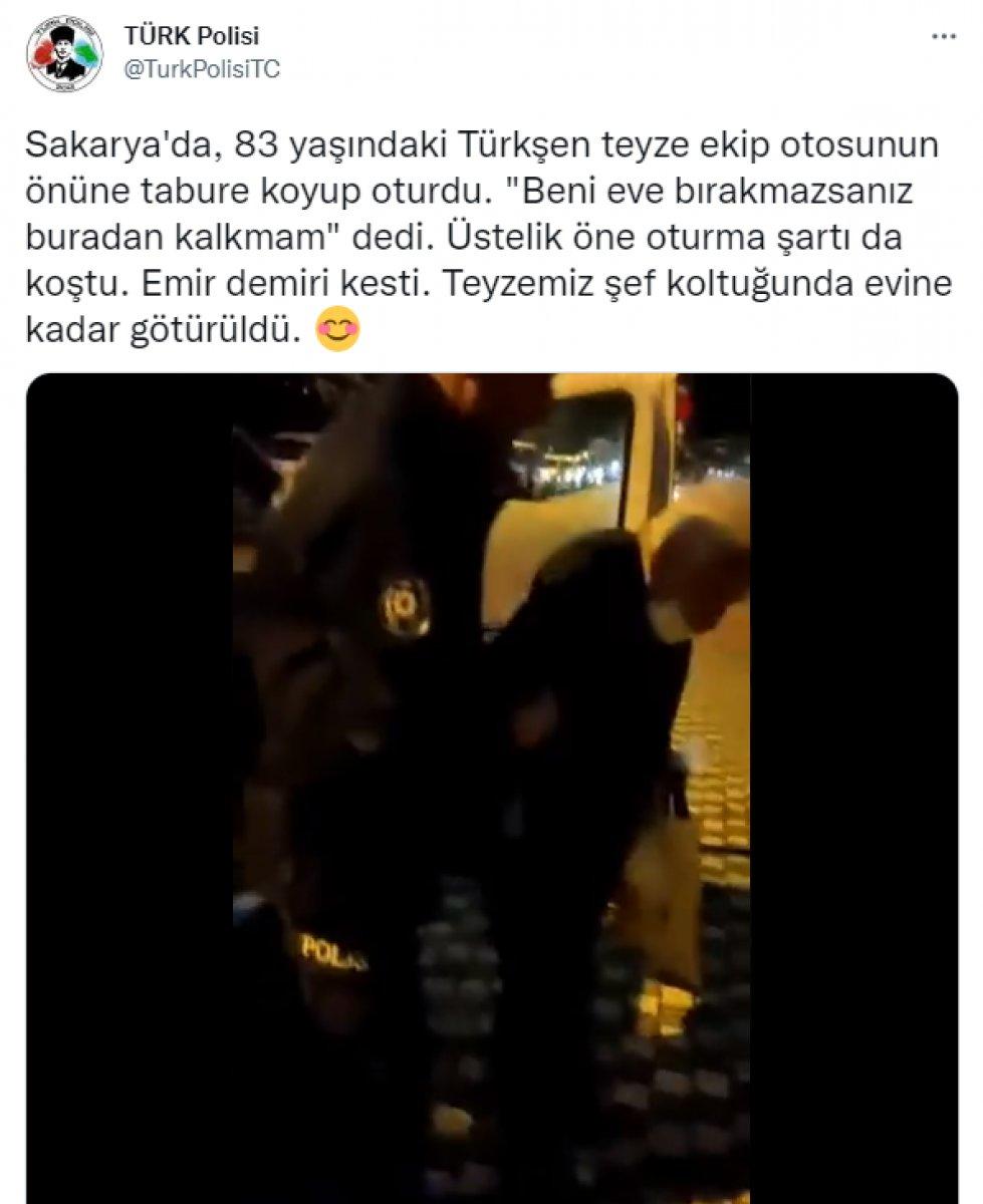 Sakarya da yaşlı kadın ısrar edince, polis evine bıraktı #2