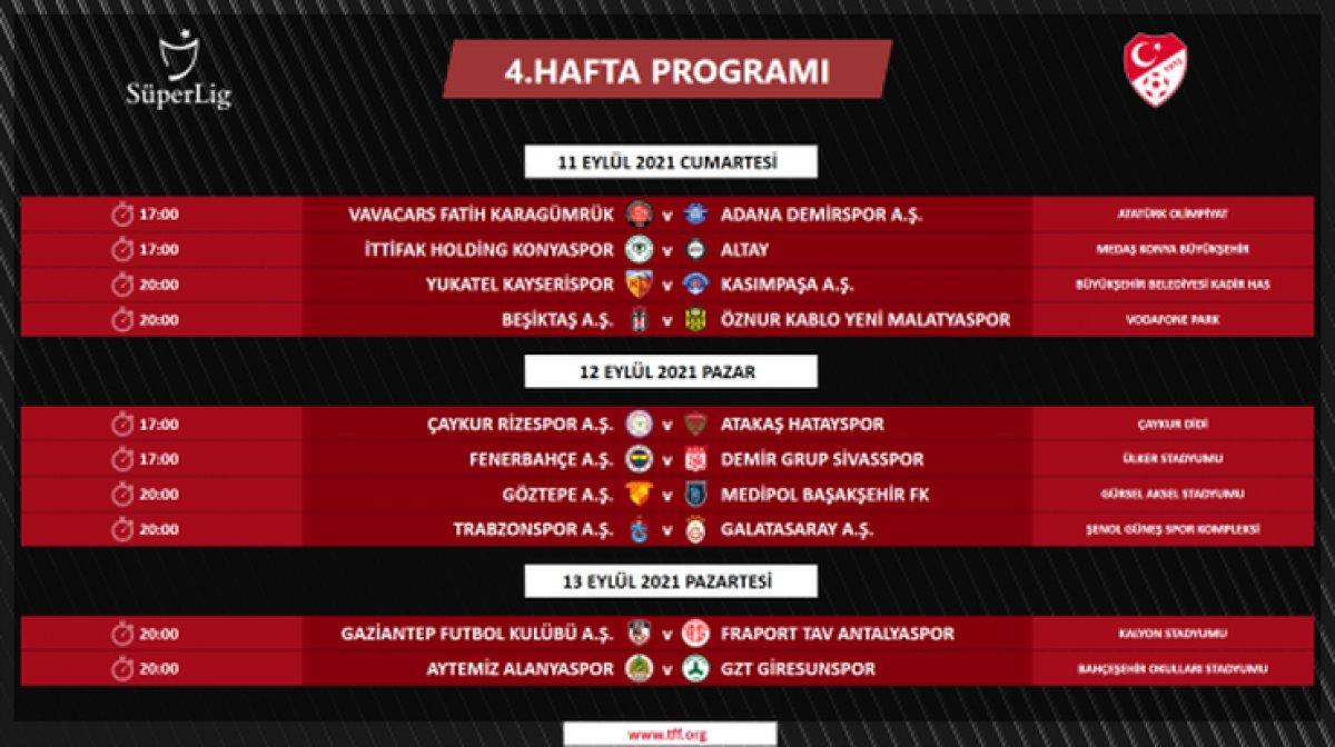 Süper Lig de 4 ile 16.hafta arası programı açıklandı #1