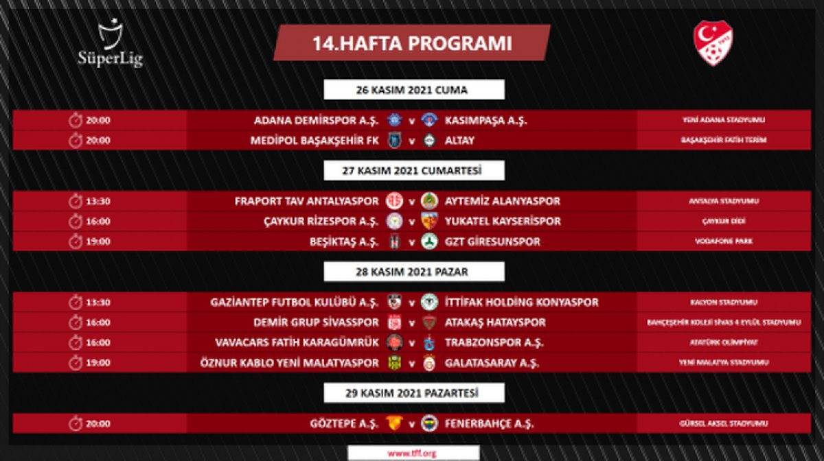 Süper Lig de 4 ile 16.hafta arası programı açıklandı #10