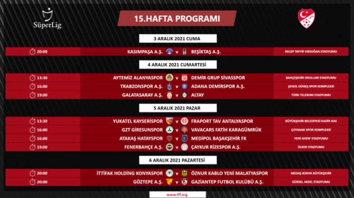 Süper Lig de 4 ile 16.hafta arası programı açıklandı #11