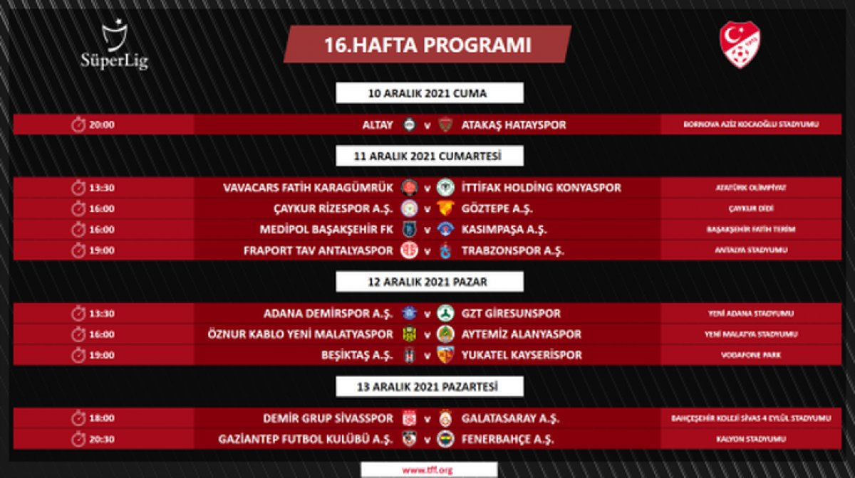 Süper Lig de 4 ile 16.hafta arası programı açıklandı #12