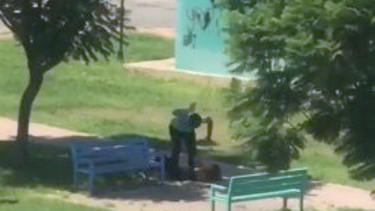 Antalya'da parkta kimliği belirsiz bir kadın darbedildi