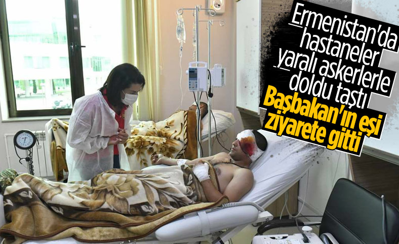 Ermenistan Başbakanı'nın eşi yaralı askerleri ziyaret etti