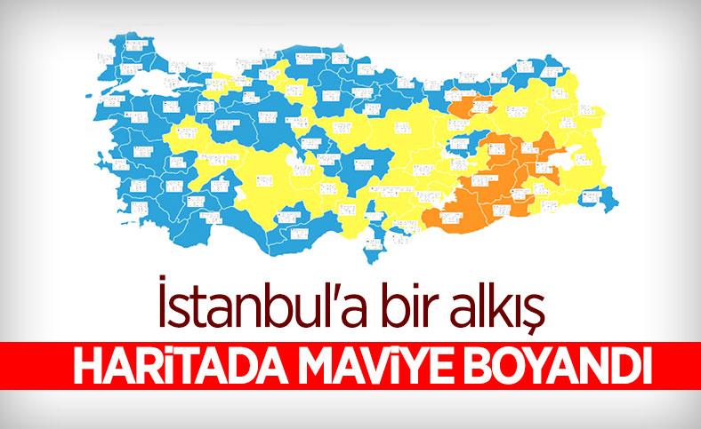 Türkiye korona haritasında İstanbul mavi oldu
