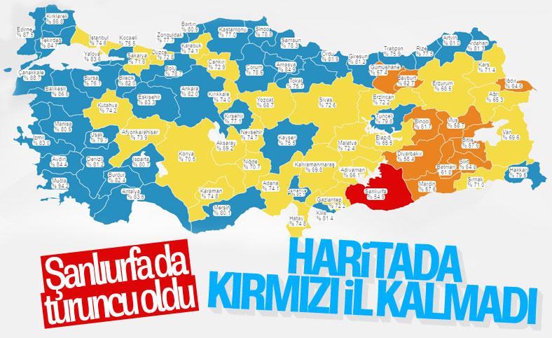 Türkiye korona haritasında kırmızı il kalmadı